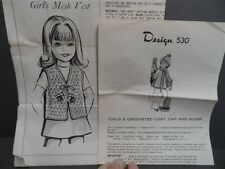 Girl's Crochet Vest. Coat, Hat, & Scarf Vintage Design  Patterns Sizes 4-12
