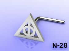 Deathly Hallows Nose Cartilage Ring Harry Potter Movie Replica Gold 925 Silver