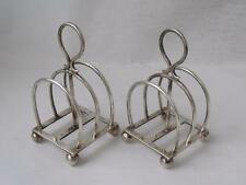 Unusual Pair of Antique Scottish Solid Silver 3-Bar Toast Racks 1912/ H 9 cm