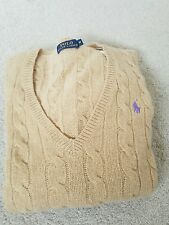 Ralph Lauren womens kimberly cable knit cashmere sweater/jumper in beige S UK 8