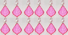 12 CHANDELIER LEAF DROPS CRYSTALS VINTAGE PINK CHIC DROPLETS WEDDING CHARM BEADS