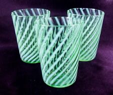 """Fenton Glass Green Opalescent Spiral Optic Tumblers 4"""" Set of 3 VG Cond"""