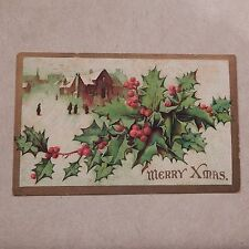 Vintage Postcard Merry Xmas, Town Scene With People, Holly & Berries