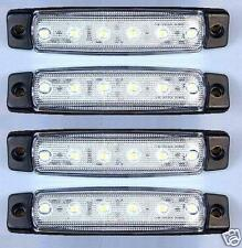 4x 12V LED FRONT WHITE CLEAR SIDE MARKER LIGHTS LAMP TRUCK TRAILER LORRY BUS VAN
