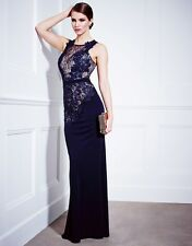 LIPSY VIP SZ 12 NAVY NUDE APPLIQUE LACE STRETCH MAXI LENGTH DRESS BNWT RRP £150!