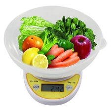 Compact Digital Kitchen Scale Diet Food 5KG/11LBS x 1g+Bowl Electronic Weight OU