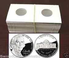100 2x2 JEFFERSON Nickel Mylar Cardboard Coin Holder Flips Coin Supplies