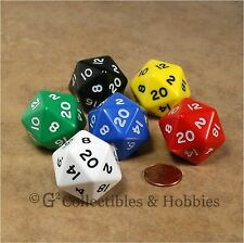 NEW Set of 6 Jumbo D20 Dice - 6 Colors D&D RPG Game Large 20 Sided 30mm D20s