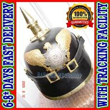 German Pickelhaube Prussian Leather Helmet,Kaiser Hat WW1 WW2 Militaria Costumes
