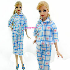 Lovely Pajamas Plaid Pattern Long Sleeve Bedroom Slipper Clothes For Barbie Doll