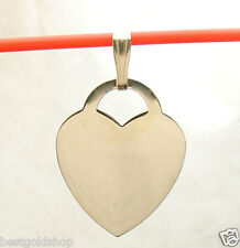 Engravable Reversible Large Heart Tag Charm Pendant  Real Solid 14K Yellow Gold