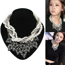 Womens Fashion Jewelry Chain Pearl Crystal Bib Statement Necklace Pendant Choker