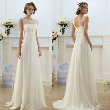 White/Ivory Chiffon Beach Simple Garden Chruch Wedding Dress Bridal Gown Lace Up