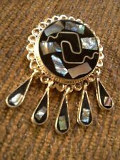 Vintage Mexican Jewelry Alpaca Silver Black Onyx Abalone Necklace Pendant