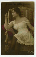 1910s Sexy French RISQUE n/ NUDE Lingerie Underwear Cigarette Smoking photo pc