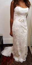 Maggie Sottoro Wedding Dress.  White w/silver.  Sz. 6