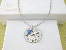 Child's Personalised Hand Stamped Name Pendant Birthstone & Cross Necklace Gift