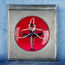 "English Silver Ladies Compact Enamel Case ""Butterfly Dancers"" Design"