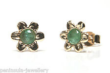 9ct Gold Emerald Flower Stud earrings Gift Boxed Made in UK