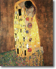 "GUSTAV KLIMT POSTER THE KISS 36"" x 24"" STRETCHED CANVAS GICLEE ART PRINT REPRO"