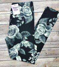 PLUS Size Black Gray Rose Leggings Ultra SOFT Floral Printed Curvy 10-18