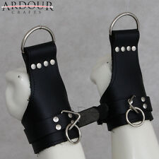 Real Genuine Heavy Leather wrist Suspension Cuffs restraint bondage extra buckle