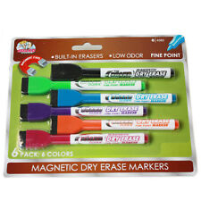 Board Dudes Magnetic Dry Erase Markers w/ Erasers 6 pc. Fine Point Low Odor