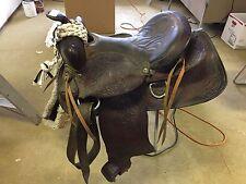 VINTAGE NICELY TOOLED 15 WESTERN HORSE SADDLE