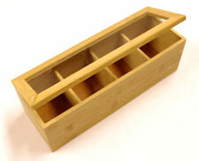 Wooden Bamboo Tea Box 4 Sections Compartments Container New