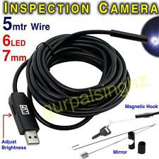 7mm 5M Wire 6 LED USB Waterproof Endoscope Borescope Snake Inspection Camera