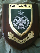Royal Green Jackets RGJ Personalised Military Wall Plaque UK Made for MOD