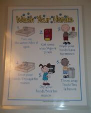 1 English and Spanish Laminated Hand Washing Poster. Daycare Health supplies ac