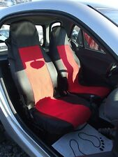 1+1 RED-BLACK FABRIC SEAT COVERS TAILORED FOR SMART CITY COUPE FORTWO