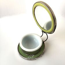 Antique Travel Shaving Mirror Soap Cup Stand Germany Folding Green Vintage