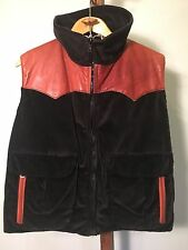 Vintage Powderhorn Mountaineering Corduroy And Leather Down Vest Size M VGUC