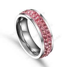 Tungsten Ring Pink CZ Inlay 2Row Princess Wedding Anniversary Swarovski 6-12 A+