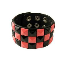 Black Pink 3 Row Pyramid Studded Black Adjustable Popper Bracelet Wristcuff