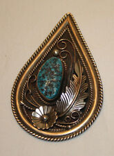 Large Heavy Vintage Melvin Tsosie Sterling Silver Turquoise Old Pawn Pendant