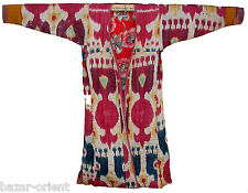 antike Uzbek Afghan Ikat Frauen Mantel Antique women's silk coat chyrpy  No:5