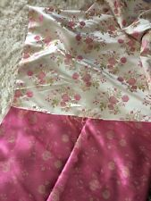 Vtg Pink Roses Gold Satin Silky Damask Brocade Fabric Material Shabby Designers