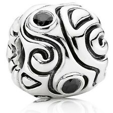 Genuine Pandora Silver Retired Large Oversized Black CZ Charm Bead 790869CZK