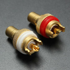 2PCS 11-12mm Cooper RCA Plugs Connector Connection Female Chassis Socket Cradle