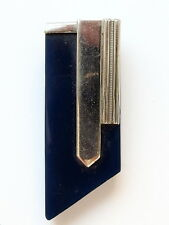 Art Déco Kleiderclip aus Metall, dunkelblaues Bakelit Bauhaus Ära