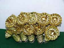 VINTAGE LOT OF 10 GOLD TONE PINE CONE CLIP CANDLE HOLDERS