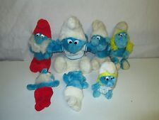 Lot 7 Vintage Smurf Plush Toy Figurines