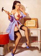Retro Pinup Girl XL LARGE CANVAS PRINT A1 Vintage Poster Gil Elvgren Hammer fail