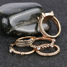 5pcs/set Gold Vintage Style Ring Leaves Rhinestone Decor Ring Set Jewelry Decor