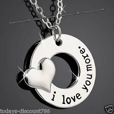 I Love You More Love Heart Necklace Xmas Gift For Her Wife Girlfriend Mum Women