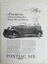 1928 PONTIAC Sport Roadster Convertible Car Dog Riding Original Ad