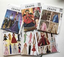 Lot of 6 McCalls UNCUT Barbie Ken Doll Clothes Patterns Costumes Sewing 11 1/2""